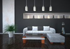 Black and White Interior Design Royalty Free Stock Images
