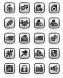 Black an white internet blogging icons Stock Image
