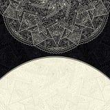 Black White Invitation Card with Lace Half Mandala Stock Images