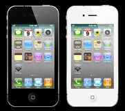 Black and white iPhone. The latest generation iphone 4, highly popular around the world Royalty Free Stock Photos