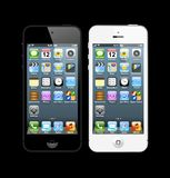 Black and white iPhones 5. The latest generation iphone , highly popular around the world Stock Image