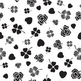 Black and white Irish symbols design with hand drawn shamrocks and hearts. Seamless vector pattern. Ideal for St Patricks day, paper, scrap booking and as vector illustration