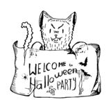 Black white isolated evil cat holding a poster with an invitation to halloween. hand drawn sketches, elements for Invitation card, Stock Images