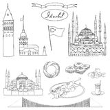 Black and white Istanbul tourist isolated object vector set. Stock Photography