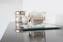 Black & White Jar Candle royalty free stock image