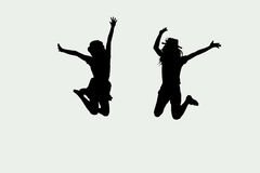 black and white of jumping girls Royalty Free Stock Images