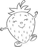 Black and white kawaii drawing of a cute little strawberry, happy, with shoes, for children`s coloring book stock illustration
