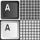 Black & White Keyboard Keys. Black and white keyboard keys with letters, numbers and punctuation marks. Eps file available vector illustration