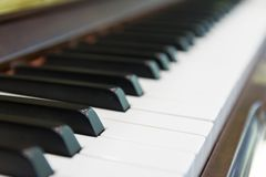 Black and white keyboard on piano. Instrument royalty free stock images
