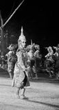 Black and white khon thai ramayana history the royal outdoor theater. Stock Photo