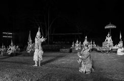 Black and white khon thai ramayana history the royal outdoor theater. Stock Image