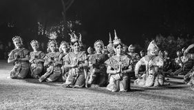 Black and white khon thai ramayana history the royal outdoor theater. Royalty Free Stock Photos