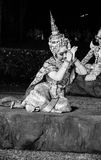 Black and white khon thai ramayana history the royal outdoor theater. Stock Photos