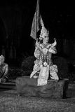 Black and white khon thai ramayana history the royal outdoor theater. Royalty Free Stock Photography