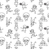 Black and white  Kids Doodles seamless Pattern Royalty Free Stock Photography