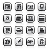 Black and white kitchen appliances  and equipment icons Stock Photos