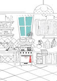 black and white kitchen cartoon style background - Illustration Royalty Free Stock Photography