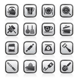 Black and white kitchen gadgets and equipment icons Royalty Free Stock Photo