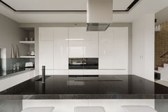 Black and white kitchen interior stock photos