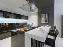 Black and white kitchen trend. 3D render royalty free stock photos