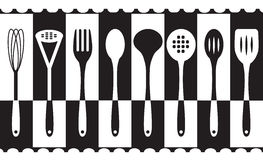 Black and white kitchen utensils set. Vector illustration of Background - Black and white kitchen utensils set Royalty Free Stock Images
