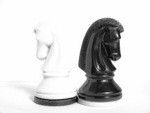 Black and white knights. Against a light background Royalty Free Stock Photography
