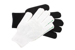 Black and white knit gloves isolated on white background Stock Image