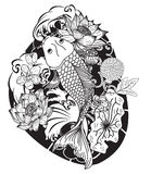 Black and white Koi carp fish vector. Japanese Tattoo with sakura and lotus flower,chinese tattoo with marigold flower,chinese fish and wave Stock Image