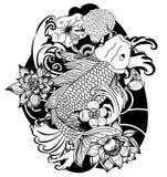 Black and white Koi carp fish vector. Japanese Tattoo with sakura and lotus flower,chinese tattoo with marigold flower,chinese fish and wave Stock Photos