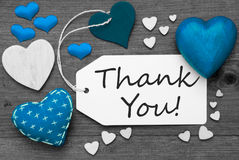 Black And White Label With Blue Hearts, Text Thank You Royalty Free Stock Photos