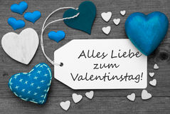Black And White Label, Blue Hearts, Valentinstag Means Valentines Day Royalty Free Stock Photo