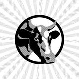 Black and white label cow. Black and white vector label with a cow farm Royalty Free Stock Photos