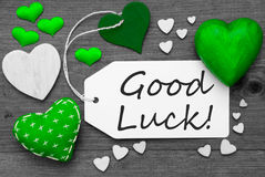 Black And White Label With Green Hearts, Text Good Luck Royalty Free Stock Images