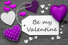 Black And White Label, Purple Hearts, Text Be My Valentine stock photography