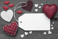 Black And White Label, Red Hearts, Copy Space Stock Image