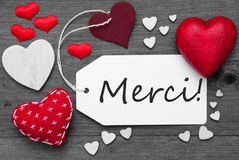 Black And White Label, Red Hearts, Merci Means Thank You Stock Photography