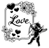 Black and white label with silhouettes of Cupid. Raster clip art. Black and white label with silhouettes of Cupid, hearts and artistic written word Love. Design Royalty Free Stock Images