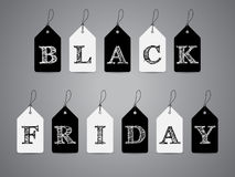 Black and white labels with Black Friday text Stock Photo