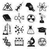 Black and white laboratory chemistry icon set Royalty Free Stock Photo