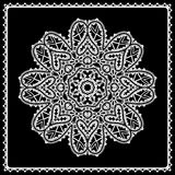 Black and white lace doily, round lace ornament Stock Image