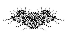 Black and white lace flowers and leaves isolated on white. Floral design element in retro style. Royalty Free Stock Photo