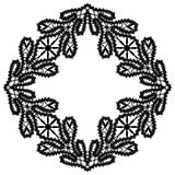 Black and white lace, ornamental square frame Royalty Free Stock Photos