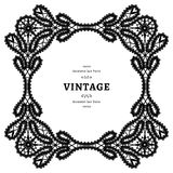 Black and white lace, ornamental square frame Royalty Free Stock Photo