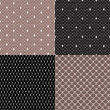 Black and White Lace Seamless Patterns. Stock Image