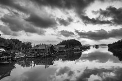 Black and white lake. Beautiful black and white Songkhla lake,Thailand Royalty Free Stock Photography