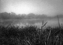 Black and white lake Stock Image
