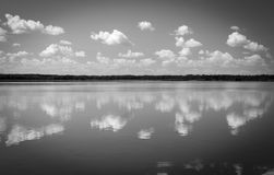 Black and white lake landscape. Artistic photo background, retro photo Stock Image