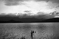 Black and white lake. Lake mountain sky in black and white Royalty Free Stock Photos