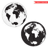 Black and white lambert azimuthal projection. Lambert azimuthal equal-area world map projection. Black and white world map vector illustration Royalty Free Stock Photos