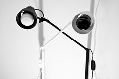 Black and white lamps (focus on black) Stock Photos